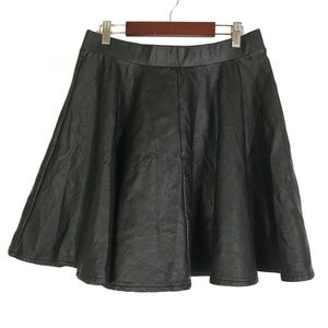 Topshop Black Vegan Leather Skater Skirt Size 8